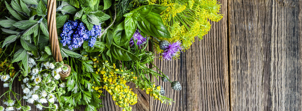 Fresh herbs from the garden on wooden table. Mix of herb on wood.
