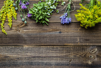 Assorted herbs from the garden on wooden table. Fresh herb on wood, top view