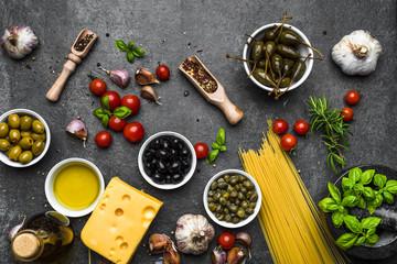 Mediterranean diet background. Ingredients for italian food, flat lay, top view