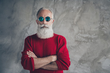 Portrait of serious harsh masculine old man cross hands look stunning prepare s-mas party time...