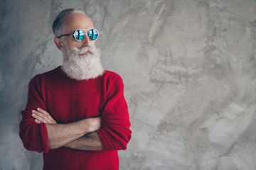 Profile side photo of serious harsh masculine old man cross hands look elegant copyspace enjoy x-mas christmas time celebration wear stylish jumper isolated over grey color background