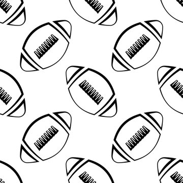 American Football Icon Seamless Pattern, Soccer Ball Seamless Pattern