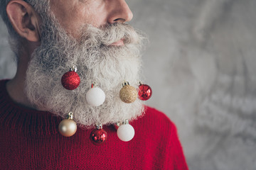 Cropped profile side photo of masculine brutal old man look gorgeous on christmas party hang x-mas...