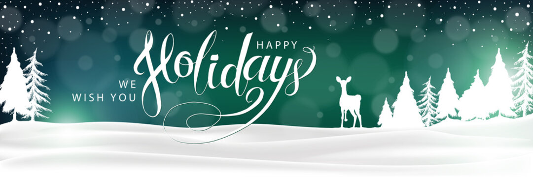 Happy Holidays Winter Landscape Background. Christmas lettering banner