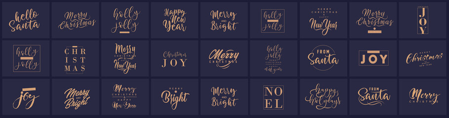 Merry Christmas and happy New Year set with lettering typographic compositions for the poster and greeting card. Calligraphy for winter holiday. Vector Fotomurales
