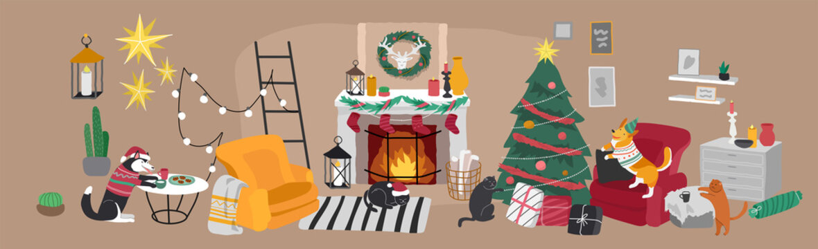 Christmas home decorations with pets. Scandinavian interior with cute cat and dog dressed in Christmas costumes. Cozy Winter holiday season. Illustration and New year typography in Hygge