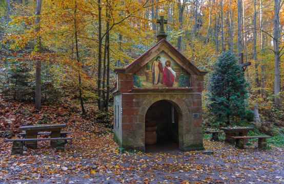 Source of St. Mary on the Way of the Cross and on green tourist trail leading from Bardo to Mountain Chapel standing on Bardzka Moumtain, also called Calvary