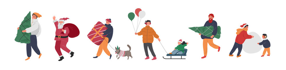 Christmas holiday people with Santa, elf, penguin and snowman. New Year greeting cards with snow. Winter festive Vector cartoon