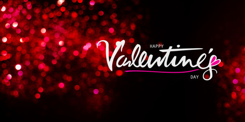 Happy Valentines day greeting on a glowing red background