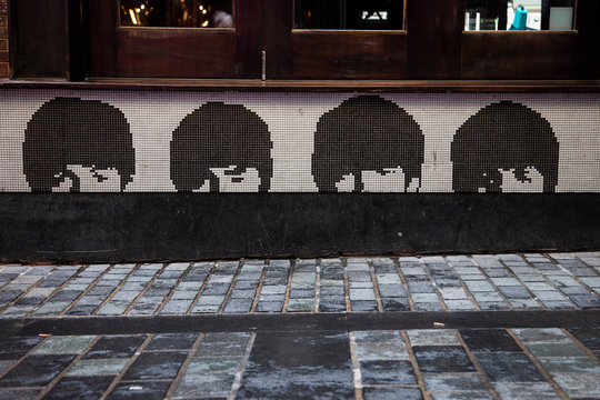 Liverpool, UK - October 30 2019: Signs showcasing the beatles band in Liverpool, UK