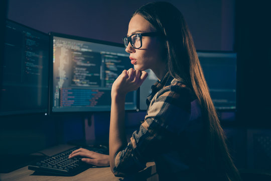Side profile photo of intelligent thinking guessing woman working in late evening shift instead of her colleague system administrator