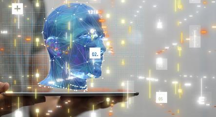 Human head cyber mind digital technology