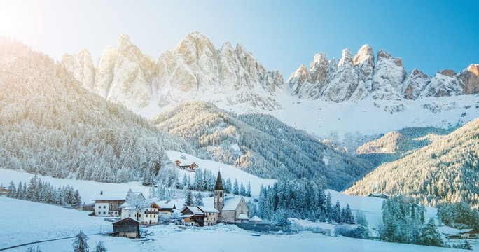Winter panorama of Funes village in Dolomites.