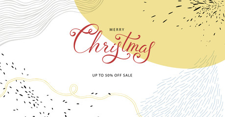 Winter Holidays banner design. Website or social media long header template for Christmas celebration with space for text.