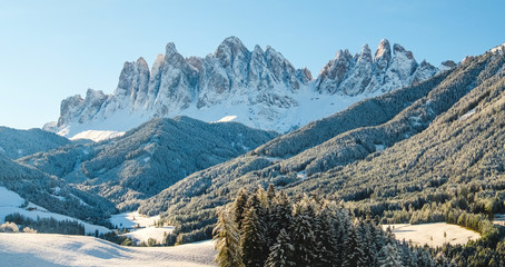 Winter panorama with white snow in Dolomites mountain, Italy.