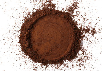 Instant powdered coffee for espresso frame isolated on white background, top view