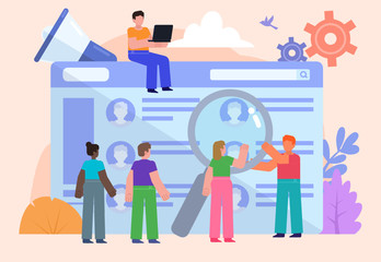 Website or app for employee recruitment. Group of people stand near big web page with employee resumes. Poster for social media, web page, banner, presentation. Flat design vector illustration