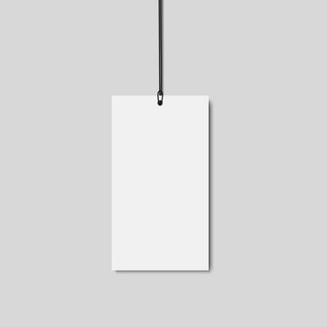 Blank paper price tag with string isolated on transparent background.