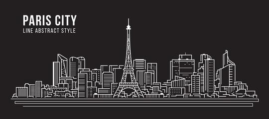 Cityscape Building panorama Line art Vector Illustration design -paris city