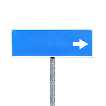 New blank blue road sign isolated