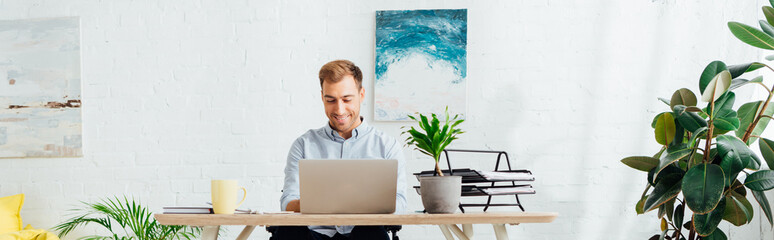 Smiling freelancer using laptop at desk in living room, panoramic shot Wall mural