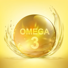 Pill with vitamin Omega 3. Drop of fish oil
