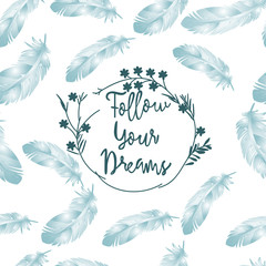 Vintage Light blue feather seamless pattern