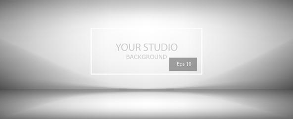 Fototapete - white and gray soft gradient studio background