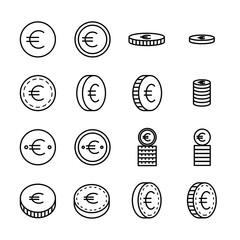 Set of coin related vector line icons.