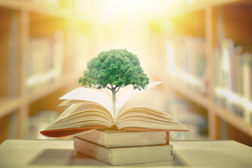 education concept with tree of knowledge planting on opening old big book in library with textbook,...