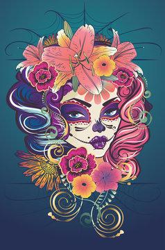 Sugar skull witch woman in flower crown portrait