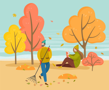 People walking in autumn park. Man sweeping foliage on outdoor territory using broom. Woman sitting on ground and reading book. Orange leaves falling from trees, fall weather, vector illustration