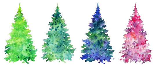 colored christmas trees, set of elements for creativity, watercolor.
