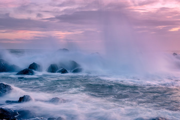 Garden Poster Choppy seas and breaking waves at sunset