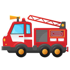 Color image of fire truck on a white background. Cartoon fire engine. Vector illustration of vehicle, transport for kids.