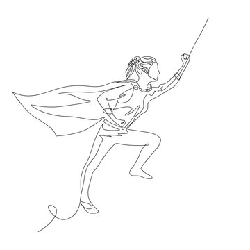 Continuous one line superhero woman in a cloak flies up with a raised hand. Vector