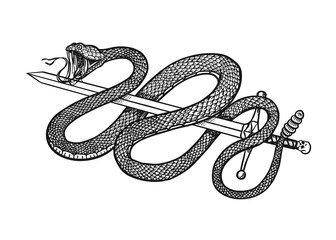 Snake with a sword in Vintage style. Serpent cobra or python or poisonous viper. Engraved hand drawn old reptile sketch for Tattoo. Anaconda for sticker or logo or t-shirts. Wall mural