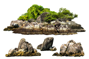 Stores à enrouleur Ile The trees. Mountain on the island and rocks.Isolated on White background
