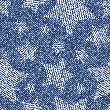 Jeans background with stars. Vector Denim seamless pattern. Blue jeans fabric