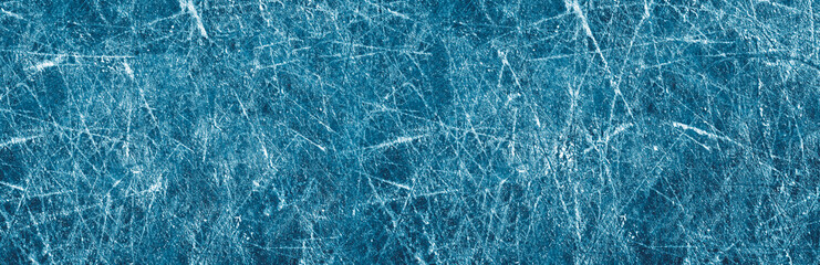 Ice texture on a skating rink, panorama. Big size. Long. Banner.