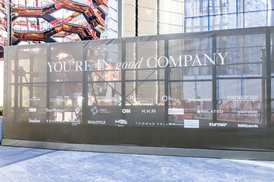 New York City, USA - October 27, 2017: NYC modern building entrance with sign in Chelsea West Side by Hudson Yards, corporate business mall