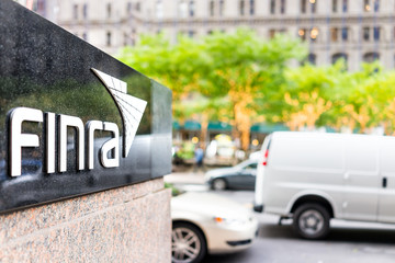 New York City, USA - October 30, 2017: Sign on the building of Financial Industry Regulatory Authority, or Finra, in Manhattan NYC lower financial district downtown