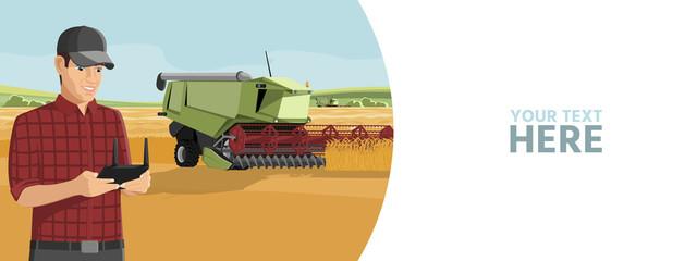 Etiqueta Engomada - Farmer controls an autonomous harvester on a smart farm. Vector banner template