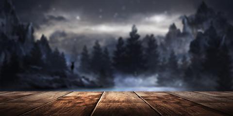 Fotomurales - Wooden table night landscape background.