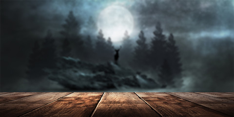 Tuinposter Diepbruine Wooden table night landscape background.