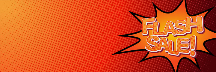 Flash Sale Banner template design with red orange background and space for your image. Vector illustration banner