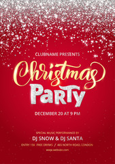 Christmas party poster template. Sparkling glitter holiday background