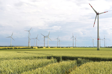 renewable energies - power generation with wind turbines in a wind farm