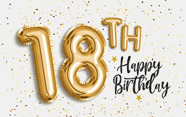 Happy 18th birthday gold foil balloon greeting background. 18 years anniversary logo template- 18th celebrating with confetti. Photo stock.