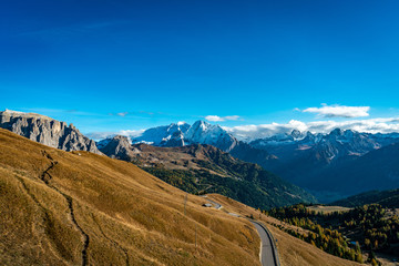 Panoramic view of the  Puezgroup mountains and the Stevia top in South Tyrol